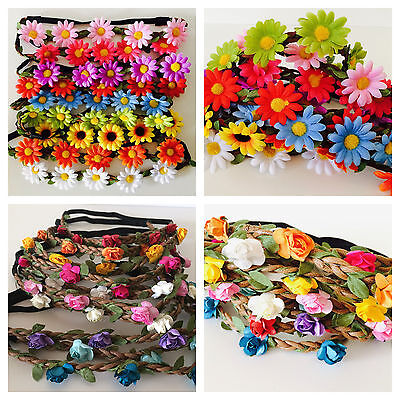 Floral flower headband wedding bridesmaid festival summer boho hair band garland