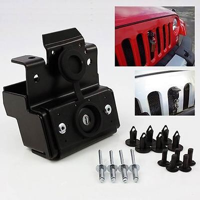 Metal Anti-theft Engine Hood Lock Latch Kit For 2007-16 Jeep Wrangler JK//Rubicon