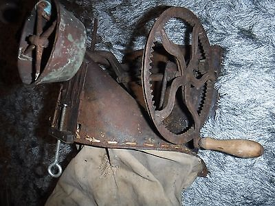 Antique Seed Spreader hand Crank Farm Tool Hand Seeder Canvas Bag -Steampunk