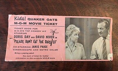 1960 Quaker Oats Doris Day Movie Ticket Cereal Premium Dont Eat the Daisies