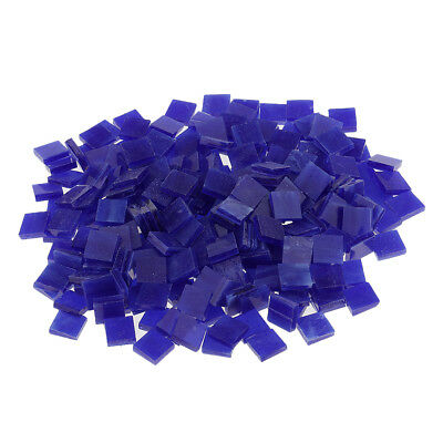250pcs Square Glass Mosaic Tiles Pieces for Art Craft 10x10mm Dark blue
