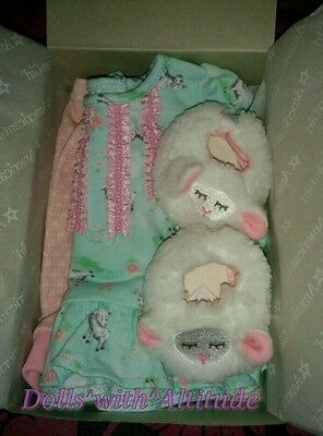 """NEW IN BOX American Girl BITTY BABY LAMBIE PJ'S for 15"""" Doll Pajamas TWIN"""