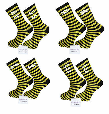 Yellow and Black Striped Luxury Cotton Rich Wedding Socks, Groom, Best Man