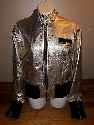 Vintage 1980s MEMBERS ONLY size 10 shiny gold and black bomber jacket