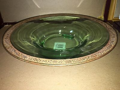 Green Glass Bowl Compote Gold Decorative Trim 12""
