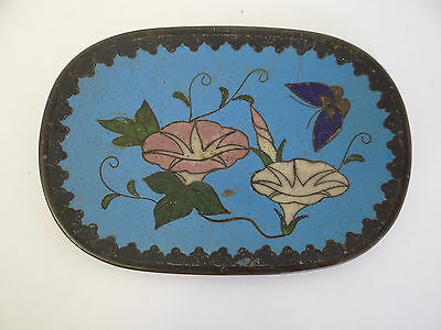 Antique Old Bronze Cloisonné Enamel Rose Butterfly Soap Dish Decorative Used