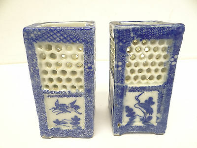 Antique Pair Old Blue White Porcelain Chinese Crane Brush Holders Pots Used