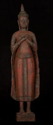 """Antique Khmer Style Wood Standing Thoughtful Friday Buddha Statue - 62cm/24.5"""""""