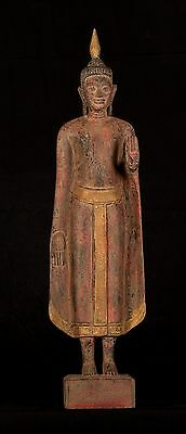 """Antique Khmer Style Wood Standing Protection Monday Buddha Statue - 66cm/25.75"""""""
