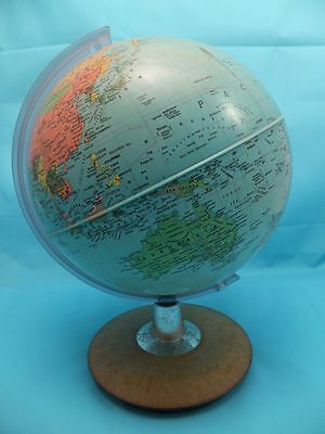 "Vintage 10"" Globe Of The World Maps On Wooden Base"