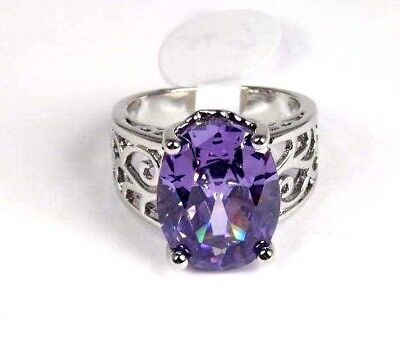 Purple Amethyst Solitaire simulated Gemstone ladies silver ring size 6.75 R#6143