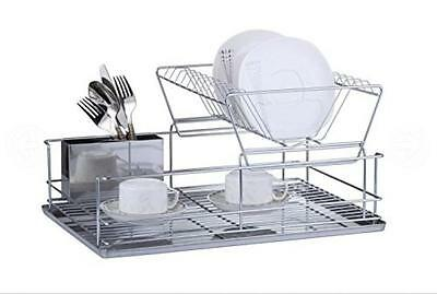 FurnitureXtra Stainless Steel Dish Drainer with Drip Tray and Cutlery Holder...