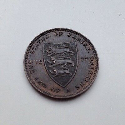 Extremely Fine+ Scarce 1877 Jersey 1/48th Of Shilling Coin