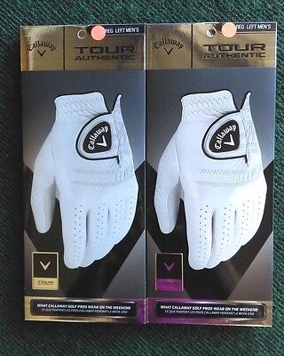 Callaway Tour Authentic Men's Golf Glove Lot of 2 Gloves NEW White Left Hand