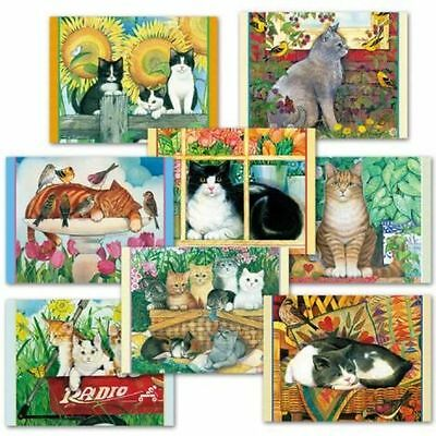Set of 8 different blank inside colorful cat art notecards with envelopes