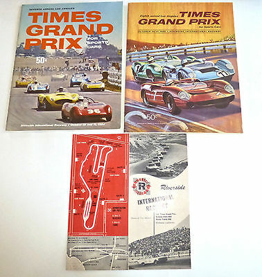 L.A. Times Grand Prix 1964 & 1965 Programs~Riverside~Andretti, Surtees, Stewart