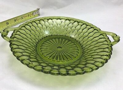 Decorative Green GLASS Vanity Tray w Handles-Scalloped Edges & Sides-Vintage