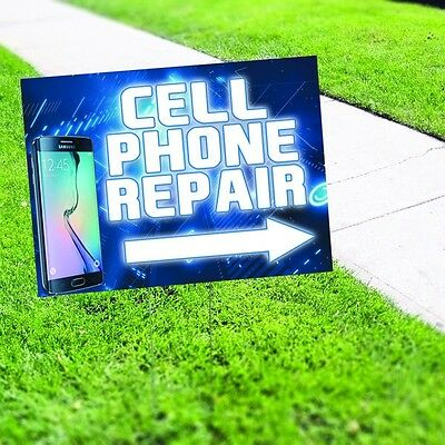 """Cell Phone Repair Samsung iPhone Blue 12""""x18"""" Yard Sign & Stake Double Sided"""