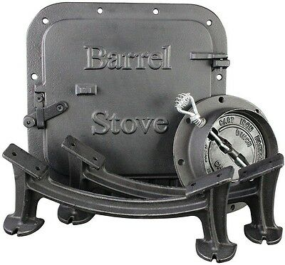 US Heavy Workshops Garage Stove Barrel Stove Kit Wood Burning Double Drum Heater