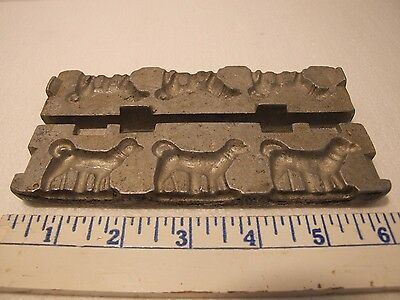 3 Dogs in a Row Vintage Antique Cast Metal Candy Chocolate Mold  #8
