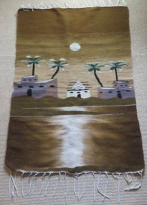 """Vintage Middle Eastern Wool Saddle Blanket Rug 46"""" X 32"""" OK Pre-Owned Condition"""