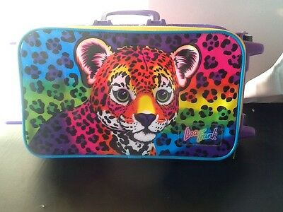 Vintage Lisa Frank cheetah  Luggage Bag w Wheels / Carry Case suitcase travel