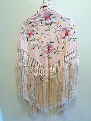 Antique Pink Fringed Piano Scarf Embroidered Shawl Wrap