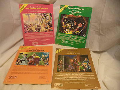 Lot of 4 1980 ADV DUNGEONS & DRAGONS ADVENTURE MODULES-A1 A2 A3 & A4 -TSR AD&D