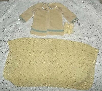 Vtg Lot  Baby's Doll Sweater, Booties  & Blanket~ Yellow Blue Trim