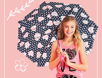 NWT Girls Live Justice Polka Dot Hearts LIMITED EDITION Umbrella w/ Sleeve NEW