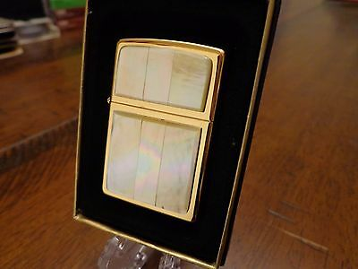 Pearl Gold Plate Zippo Lighter Near Mint In Box 1998