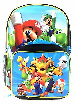 """Super Mario Boys & Girls 16"""" School Backpack With Lunch Bag Set"""