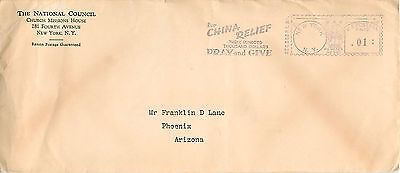 """For China Relief"" Slogan On WW2 Era NYC Meter Cancel To Phoenix, AZ Cover"