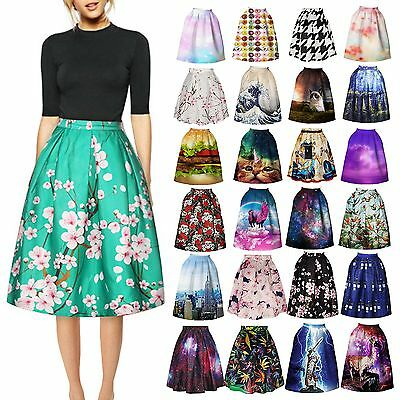 Retro Women Floral High Waist Dress Skater Flared Pleated Swing Long Skirt Dress
