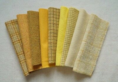 Hand Dyed Wool Bundle,Yellow, Rug Hooking,Applique, Penny Rugs,Textile Arts