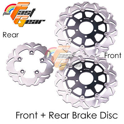 Front Rear SS Brake Disc Rotor Set For Suzuki GSXR 1000 03 04