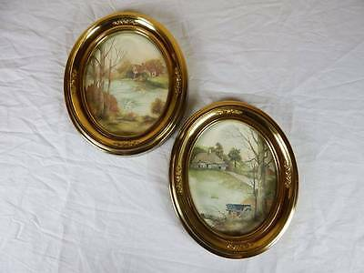 two vintage Syroco oval pictures both cottages art