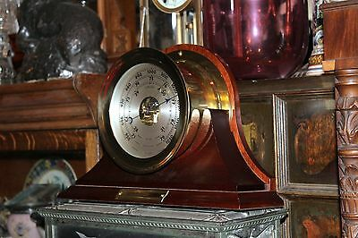 """6"""" BRASS CHELSEA BAROMETER CLOCK with base MADE IN USA EXCELLENT CONDITION!!"""
