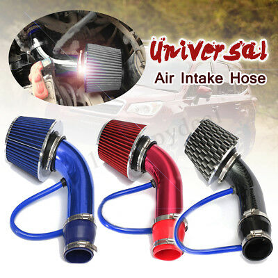 "2.5""-3.0"" Universal Cold Air Intake Induction Hose Pipe Kit System & Filter Red"