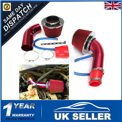 "RED 2.5""-3.0"" Universal Cold Air Intake Induction Hose Pipe Kit System & Filter"