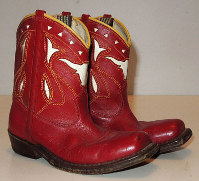 Vtg 40s/50s Toddler Western Leather Cut Out Boots sz 8 Shorties Pee Wees