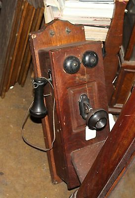 Antique Vintage Hand Crank Oak Wall Telephone