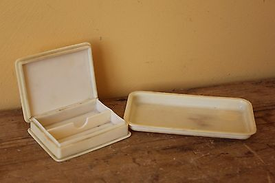 Vintage French Ivory (Celluloid)   box & small tray.
