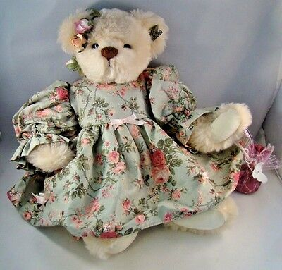 Annette Funicello Teddy Bear Jointed Ear Button Floral Dress Roses Cream Colored