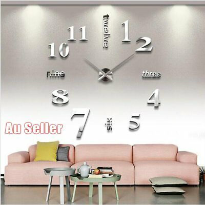 Modern DIY Chic Large Wall Clock 3D Mirror Surface Sticker Home House Decor AUOJ