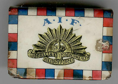 Military Australia  Match Box (Patriotic) Metal Cover  Logo A.i.f Rising Sun Ww1