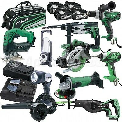 Hitachi 18V 6.0Ah Li-ion Cordless 10pce Combo Kit AUS MODEL HAMMER DRILL KIT
