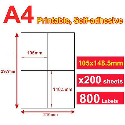 200 x A4 Sticker Paper Mailing Address Laser Inkjet 105x148.5mm 4 Labels/page