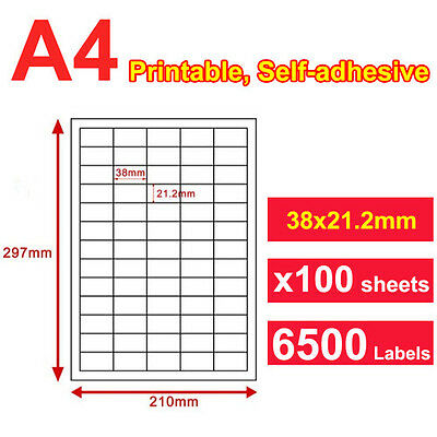 100 Sheets 65 up 38 x 21mm Peel & Paste Label A4 Office Mailing Address labels