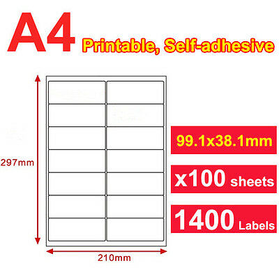 100 x 14 Labels A4 Sticker Paper Mailing Address Office Laser Inkjet 99x38.1mm